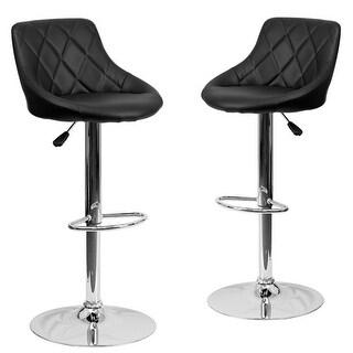Belleze Set of (2) Faux Leather Bucket Style Seat Adjustable Barstool Chrome Base, Black