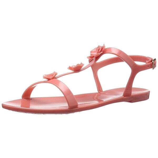 Badgley Mischka Women's Bahama Flat Sandal, Flamingo Pink, Size 10.0