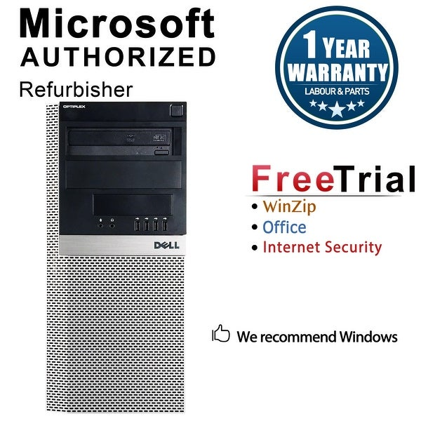 Dell OptiPlex 960 Computer Tower Intel Core 2 Duo E8400 3.0G 4GB DDR2 250G Windows 7 Pro 1 Year Warranty (Refurbished) - Black