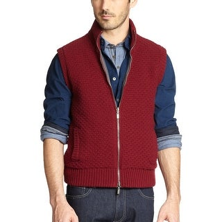 Canali Burgundy Wool and Cashmere Reversible Outdoor Quilted Sweater Vest Large