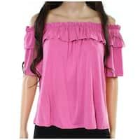 Harlowe & Graham Deep Pink Womens Size Medium M Ruffled Knit Top