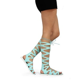 Static Fashion Womens Lace Up Jelly Gladiator Sandals