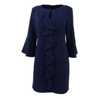 Jessica Howard Women's Petite Bell-Sleeve Ruffled Dress - Navy