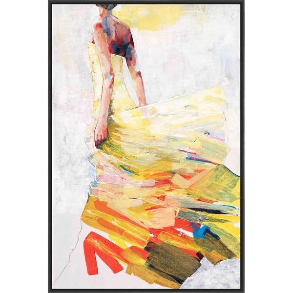 PALE YELLOW DRESS 22L X 28H Floater Framed Art Giclee Wrapped Canvas