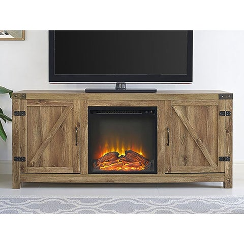 "WE Furniture 58"" Barn Door Fireplace TV Stand - Barnwood"