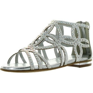 Forever Tory-63K Girls Rhinestone Glittering Cut Out Strap Gladiator Flat Dress Sandal