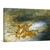 Premium Thick-Wrap Canvas entitled New York on map - Multi-color