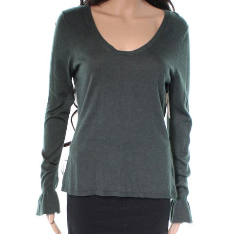 14th & Union Women's Large Scoop Neck Ruffle Cuff Sweater