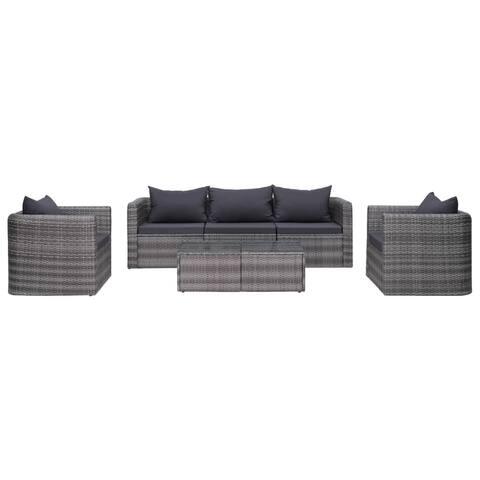 vidaXL 7 Piece Garden Sofa Set with Cushions & Pillows Gray