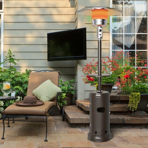 Gymax Outdoor Patio Heater Propane Standing LP Gas Steel W/Table & Wheels Bronze