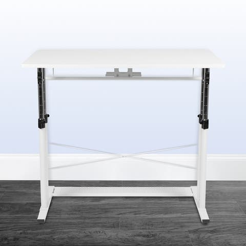 """Height Adjustable 39.25""""W x 23.75""""D x 27.25-35.75""""H Sit to Stand Laptop Desk"""