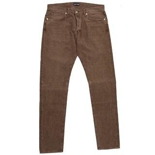 New Tom Ford Corduroy Denim Jeans Light Brown Wash Slim Fit Model