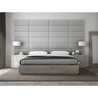 """VANT Upholstered Headboards - Accent Wall Panels - Packs Of 4 - PLUSH VELVET  Platinum Gray - 39"""" Wide x 11.5"""" Height"""