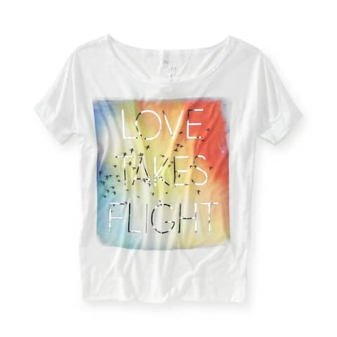 Aeropostale Womens Loves Takes Flighboat Neckee Graphic T-Shirt, White, Large