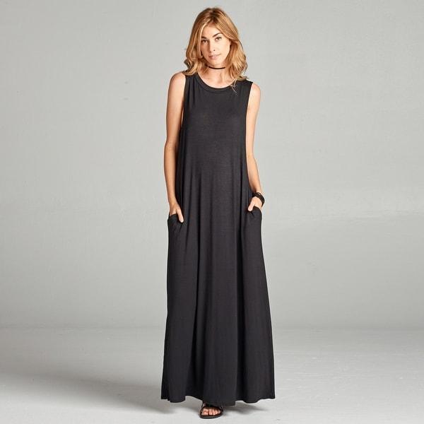 Sleeveless Solid Maxi Dress with Pockets