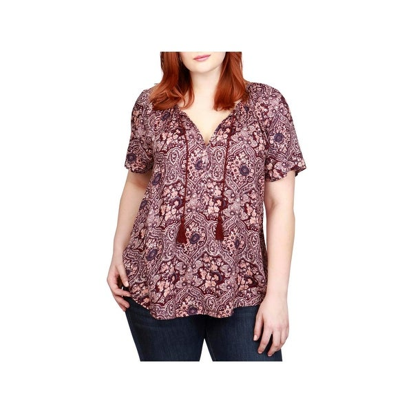 Lucky Brand Womens Plus Peasant Top Blouse Paisley
