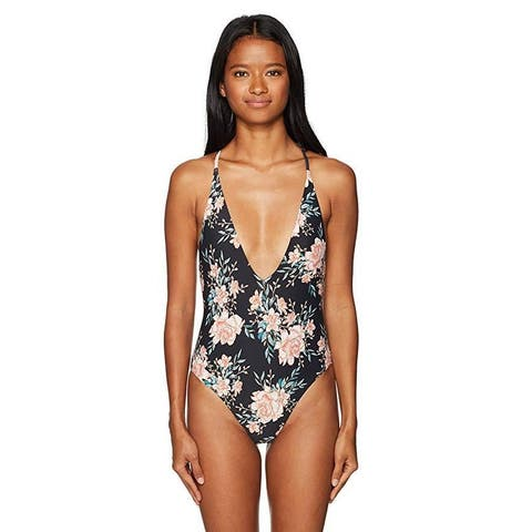 Billabong Women's Let It Bloom One Piece Swimsuit, Black Sands, S