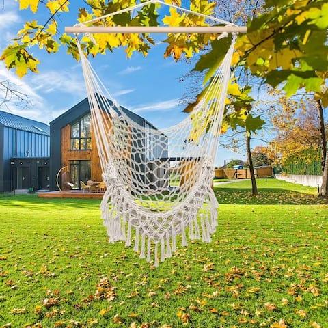 Outdoor/Indoor Cotton Rope Sling With Tassel Beige Beige