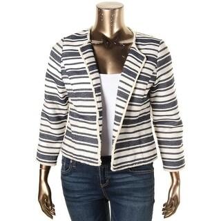 Kensie Womens Open-Front Blazer Striped Frayed Hem