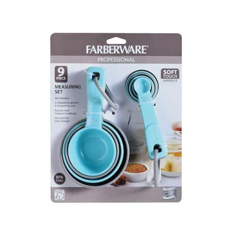 Farberware Measuring Cups and Spoons Set, 9 Piece - Aqua Gray - Aqua Gray