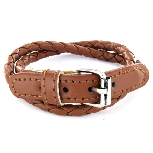Brown Multi Weaved Double Wrap Leather Bracelet with Buckle End Design (5 mm) - 7.5 in