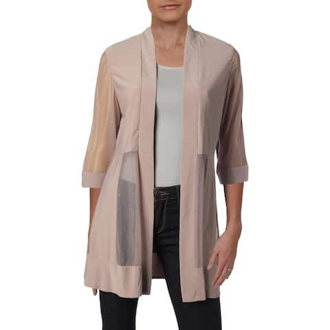 R&M Richards Womens Petites Jacket Mesh Sheer