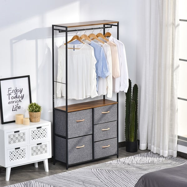 HOMCOM Industrial Storage Cabinet Coat Rack Bedroom Hall Tree Organiser with Long Coat Hanger, 5 Drawers & Storage Shelf. Opens flyout.