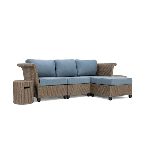 La-Z-Boy Nolin 3pc Weathered Brown Sectional Set with 2 Side Tables and 1 Ottoman, Sunbrella Spectrum Denim Fabric