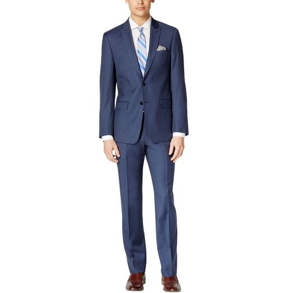 Calvin Klein CK Extreme Slim Fit Blue Wool Suit 46 Regular 46R Pants 39W