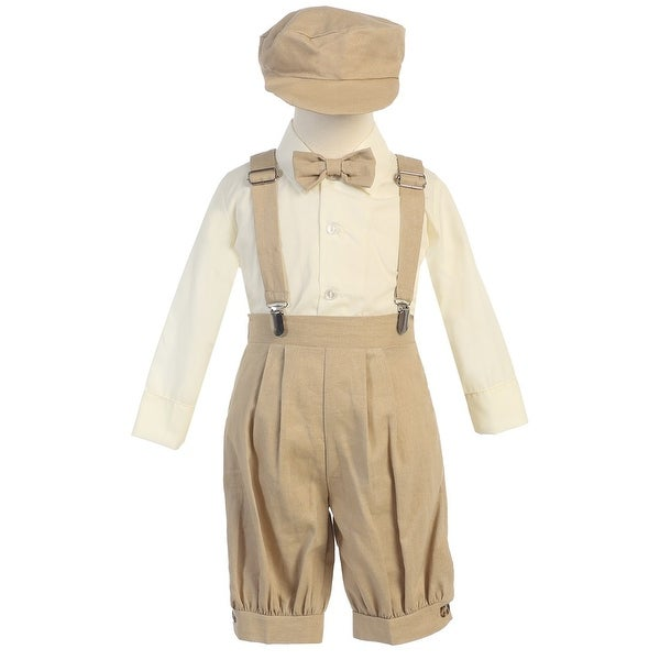 Baby Boys Khaki Suspenders Short Pants Hat Easter Outfit Set 3-24M