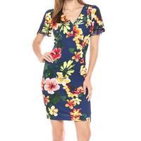Sangria Blue Womens Size 16 Angel Sleeve Floral Print Sheath Dress