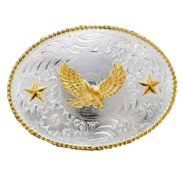 Nocona Western Belt Buckle Oval Flying Eagle Silver Gold - 3 x 4