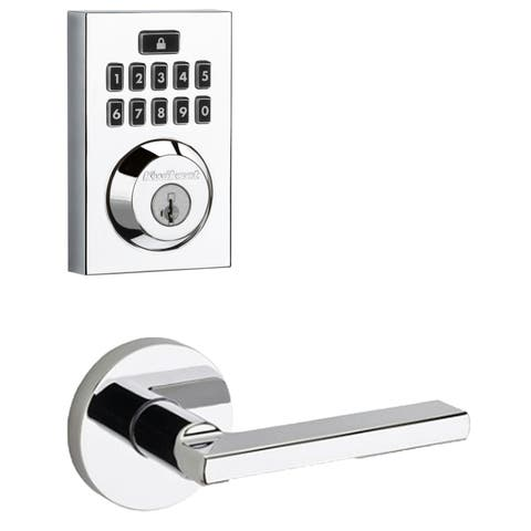 Kwikset 913CNT-HFLRDT-S SmartCode Touchpad Electronic Deadbolt with Halifax Lever and Round Rosette -