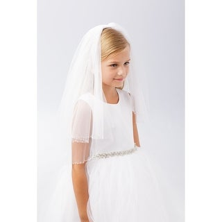 Girls White Raw Tulle Edge Beading Double Layer Communion Flower Girl Veil