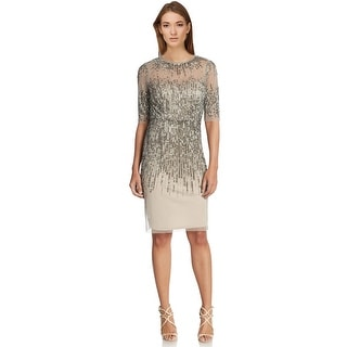 Adrianna Papell Beaded Illusion Sheath Cocktail Evening Dress