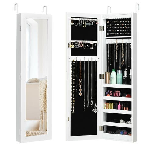 Wall And Door Mirrored Jewelry Cabinet With LED Light - White