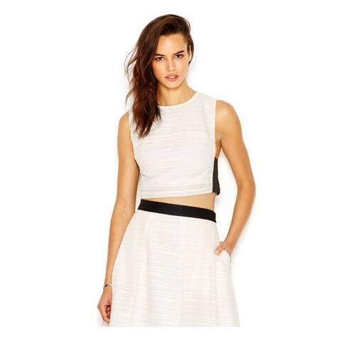 RACHEL ROY Womens New 6794 Ivory Jewel Neck Sleeveless Crop Top Top XL