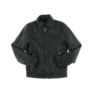 Guess Mens Coat Faux Leather Long Sleeves