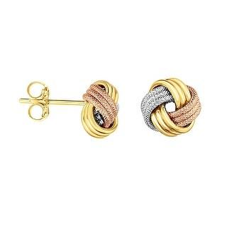 Mcs Jewelry Inc 14 KARAT TRICOLOR GOLD HIGH POLISHED LOVE KNOT STUD EARRINGS (9MM)