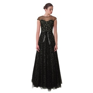 Teri Jon Tulle Overlay Rhinestone Embellished Ball Evening Gown Dress - 6