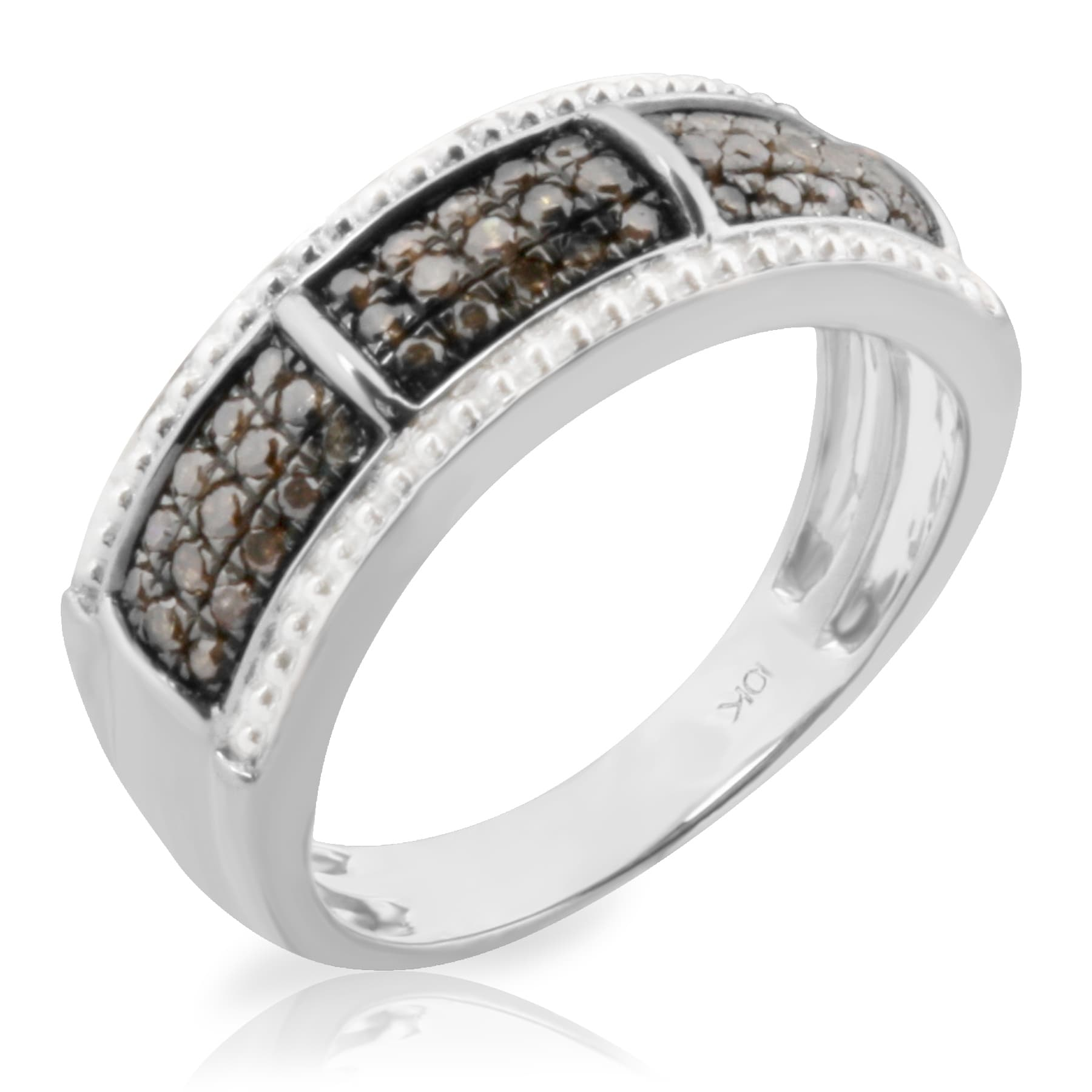 Brand New 0.37 Carat Round Brilliant Cut Real Brown Diamond Anniversary Ring - Thumbnail 5