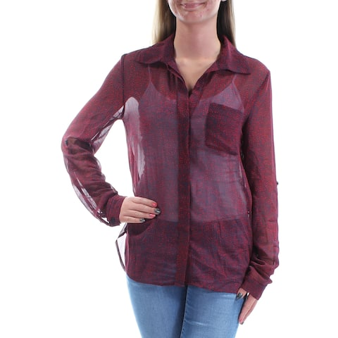 TOMMY HILFIGER Womens Red Sheer Printed Long Sleeve V Neck Button Up Top Size: S