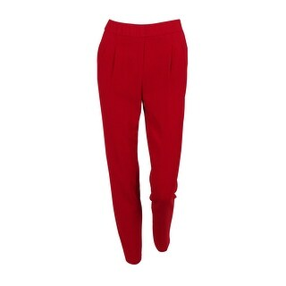 Calvin Klein Women's Petite Crepe Straight-Leg Pants - Red