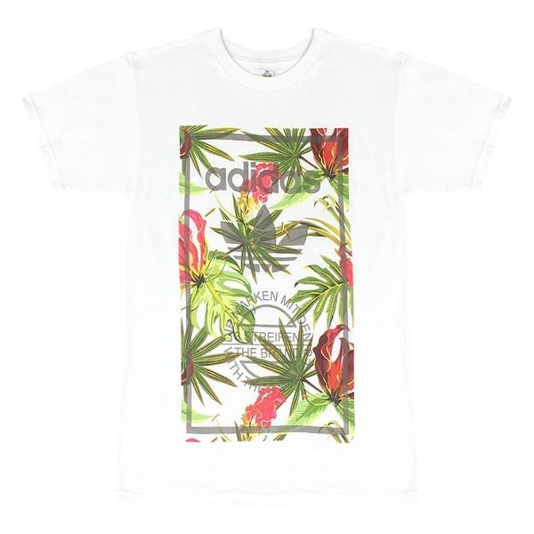 83234e222e Adidas Originals Trefoil Men's White T-Shirt Colorful Plants Leaves