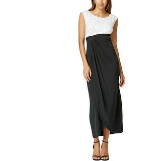 Connected Apparel Womens Petites Cocktail Dress Sleeveless Mid-Calf