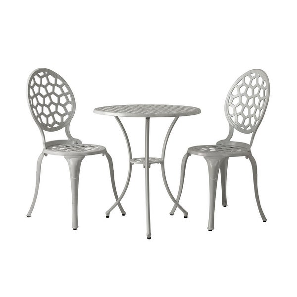 Vashon Aluminum Bistro Set In White. Opens flyout.
