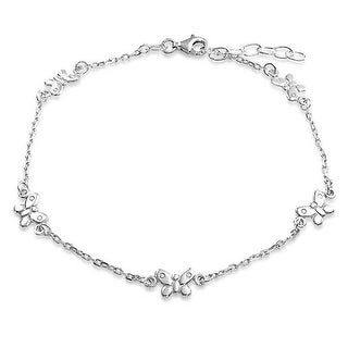 Bling Jewelry Sterling Silver Rolo Chain Ankle Bracelet Butterfly Anklet