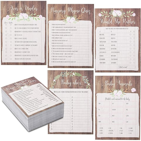 Baby Shower Game Cards for Party, Deer Theme (5 x 7 In, 5 Pack, 250 Sheets)