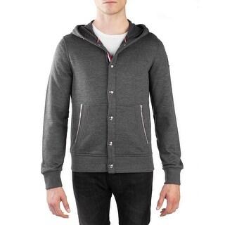 Moncler Gamme Bleu Men's Wool Cotton Buttoned Cardigan Hooded Sweatshirt Grey