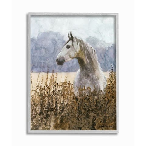 Stupell Industries Wild Horse in Tall Grass Side Portrait Watercolor Framed Wall Art - Blue